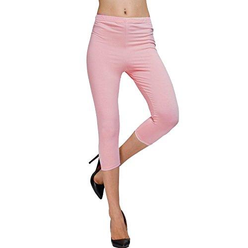DIAMONDKIT Cotton Stretch Capri Leggings Damen Crop gesäumt Gr. Small,  - B Pink (Leggings Crop Stretch)
