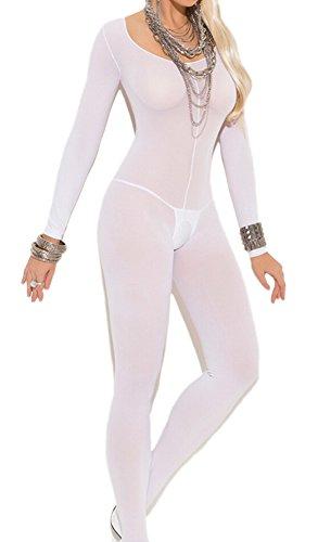 Lange Ärmel Ouvert Bodystocking Netz Spitze Damen Dessous Unterwäsche Reizwäsche Catsuit Overall (Erwachsenen Schwarzen Catsuit Kostüme)