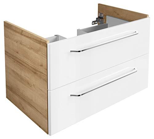 FACKELMANN Waschtischunterschrank Milano/Badschrank mit Soft-Close-System/Maße (B x H x T): ca. 80 x 49,5 x 48 cm/Waschbeckenunterschrank mit 2 Schubladen/Korpus: Braun hell/Front: Weiß -
