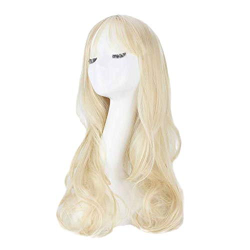 Beladla parrucca da donna, stile impertinente, naturale capelli lunghi ondulato con colpi d'aria sottili 68cm resistente al calore vari colori