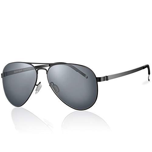 Highland Park sonnenbrille männer polarisiert Herren Pilotenbrille damen Super Licht verspiegelt Retro Nylon Linsen Unisex UV400 Schutz mit harter Box (Schwarz/Grau)