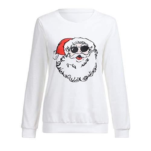 Soupliebe Frauen Weihnachten Print Langarm Damen Bluse Pullover -
