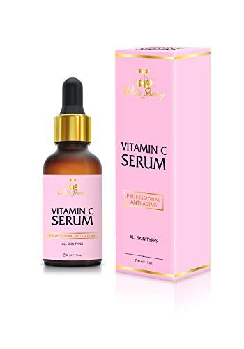 White Sherry Cosmetics® Vitamin C Serum 20{8e72471cbc0f4c42796af04852e69a65e2d9887850c7c51192c7cbd883d176f6} | Hyaluronsäure | Argan Öl | 30 ml | natürliches Anti Aging Serum für Gesicht, Hals und Dekolleté | hochdosiert und vegan