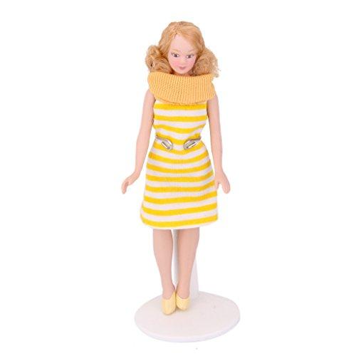 Muñecas Señora Porcelana Traje de Rayas en Miniatura para Casa de Muñecas