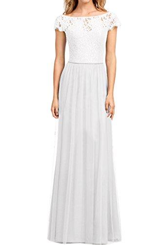 Ivydressing Damen Elegant Arm Spitze Abendkleider A-Linie Promkleid Partykleid Ballkleider Weiß