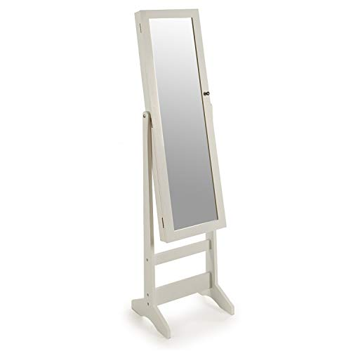 La tua moda unica armadio portagioie da terra con specchio per organizzare gioielli e accessori. legno laccato bianco.