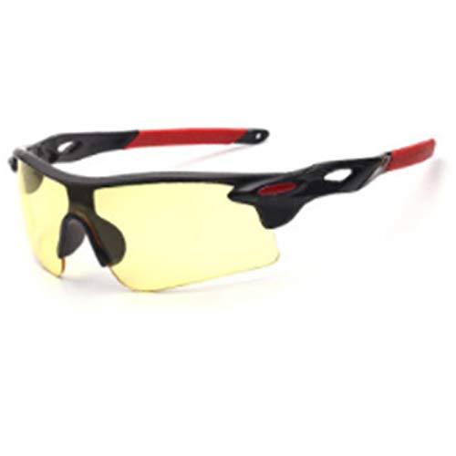 xinrongqu Sonnenbrillen - Driver Night Vision Mirrors Mirrors Sonnenbrillen Radsportbrillen Schwarzer Rahmen Rotes Bein Nachtsicht Gelb