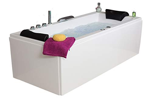 Whirlpool Badewanne Relax Basic MADE IN GERMANY 140 / 150 / 160 / 170 x 75 cm mit 16 Massage Düsen + LED Beleuchtung Licht + Balboa + MIT Messing Armaturen Eckwanne rechts links Eckbadewanne -