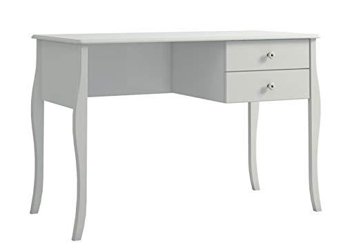 Dynamic24 Schreibtisch Cher 2 Schubladen Arbeitstisch Schminktisch Tisch weiß Landhaus