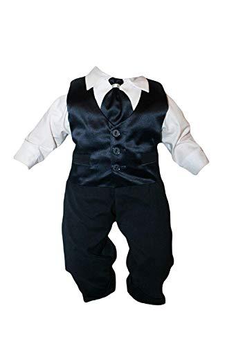 Taufanzug Baby Junge Kinder Hochzeit Anzüge Festanzug, 4tlg , Marineblau-Weiß K15 Größe 80