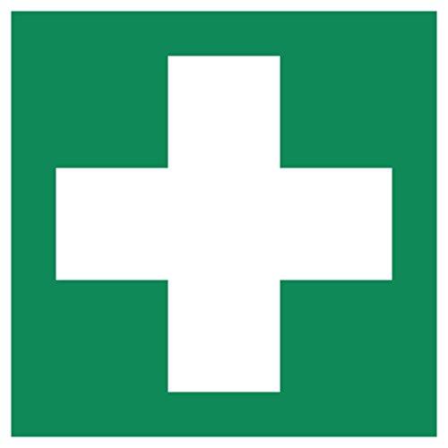 5 Erste Hilfe Aufkleber - Aufkleber Erste Hilfe vorgestanzt, selbstklebend, Verbandkasten Aufkleber Verbandskasten, Rettungszeichen, Erste Hilfe Schild überkleben, Warnzeichen - Aufkleber von Aufklebo (5)