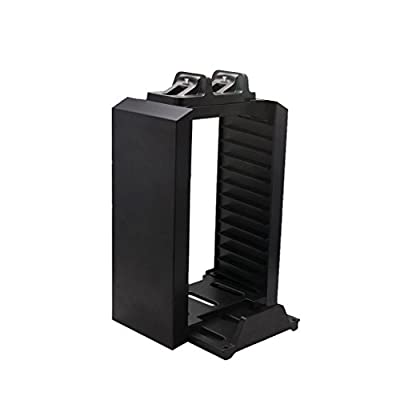 MagiDeal Game Disk Storage Tower with Dual Dock Controller Charging Station for PS4 by MagiDeal