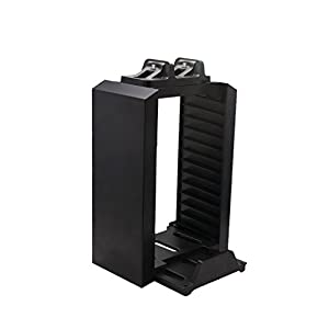 Game Disk Storage Tower Controller mit Dual Dock Charging Station für PS4