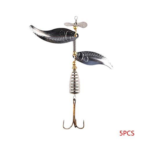 Nowear 1PCS / 5PCS / 10PCS 10cm / 14,8 g Spinner-Köder-Haken-Gerät-Legierung Rotating Pailletten Angelköder -