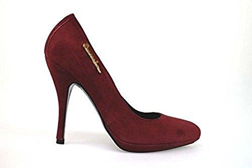 scarpe donna BRACCIALINI 36 decolte' bordeaux camoscio AN63-B