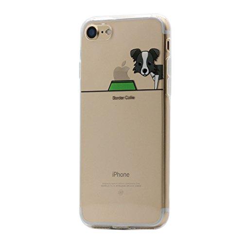 Keyihan iPhone 7 Hülle, Niedlich Haustier Hunde und Seine Näpfe Muster Ultra Dünn Schlank Leicht Transparent Weiche TPU Silikon Schutzhülle Schalen für Apple iPhone 7 (Border Collie)