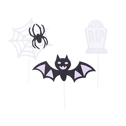 Amosfun 3 STÜCKE Halloween Bat Cake Topper Glitter Spinnennetz Grabstein Cupcake Topper Dessert Obst Insert Karte für Halloween Party Kuchen Liefert