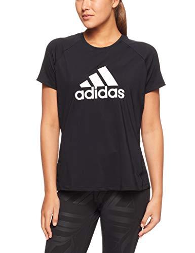 Weg-logo-t-shirt (adidas Damen D2M Logo Kurzarm T-Shirt, Black, XL)