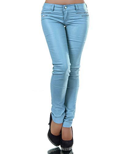 L521 Damen Jeans Hose Hüfthose Damenjeans Hüftjeans Röhrenjeans Leder-Optik, Größen:36 (S), Farben:Hellblau