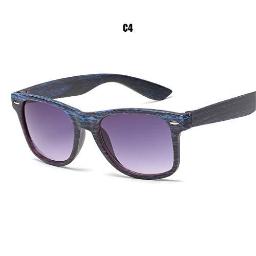 DAIYSNAFDN Woodgrain Pc Frame Sonnenbrille Square Retro Sonnenbrille Unisex Erwachsene Sonnenbrille C4