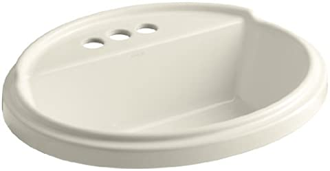 Kohler K-2992-4-47 Tresham Oval Shaped Self-Rimming Lavatory with 4-Inch Centerset Faucet Drilling,