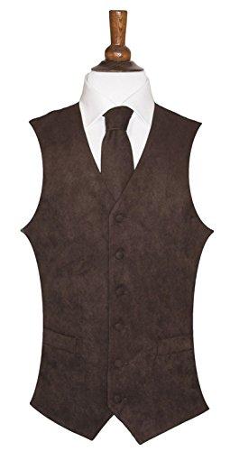 Herren Weste Wildleder-Optik, 10 Farben erhältlich, farblich passende Krawatte erhältlich Braun - Braun
