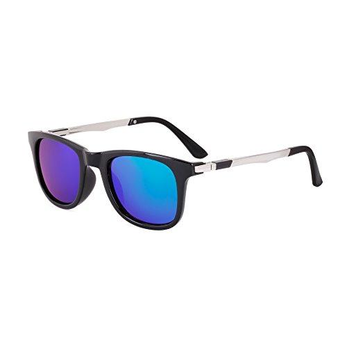 Royal Son UV Protected Wayfarer Sunglasses For Men and Women (WHAT4315|51|Green Mirrored Lens)