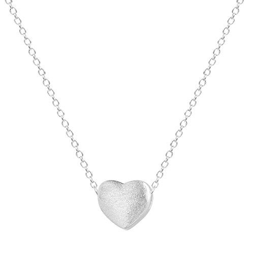 Collana in argento sterling 925 come regalo di san valentino, a girocollo con ciondolo a forma di cuore, ideale per donne, ragazze, per occasioni come compleanno e natale
