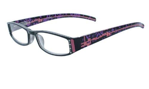 About Eyes G157 Tessa - Vergrößerung +3.50, Schwarz Bild mit diamante, pink und purple tempel bereit-zu-tragen Lesebrillen, 1er Pack (1 x 1 Stück)