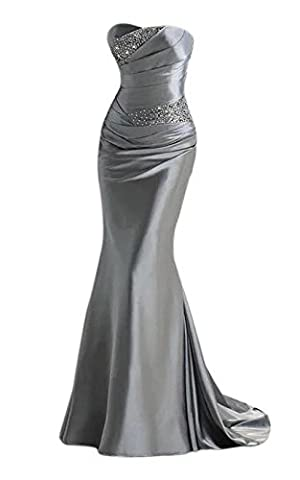 Vickyben Women's Strapless Beaded ruched Mermaid Evening Dress Prom Dress Bridesmaid Dress Ball