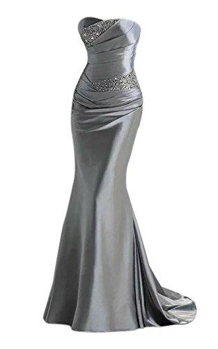Vickyben Damen Langes Schulterfrei Perlen Meerjungfrau Abendkleid Hochzeit Kleid Ballkleid...