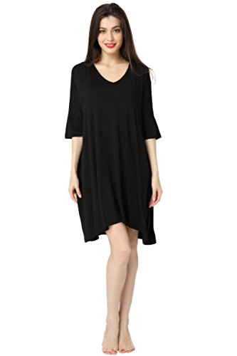 Aibrou Women's Nightdress Loungewear Soft Home T-Shirt Dress V-Neck Dress Plus Size Loose Nightshirt Nightwear