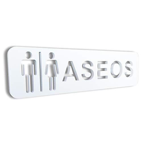 Señales Baño, Servicio WC, Letras Placas Pared Puerta