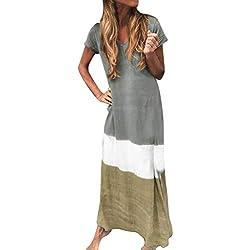 Vestidos Casual para Mujer Largos Verano Playa Tallas Grandes JORICH Vestidos Bloque Color para Fiesta Sexy Vestidos Gradiente Elegantes Vestido De Mujer Cóctel (Gris, 2XL Bust:110cm/43.31'')
