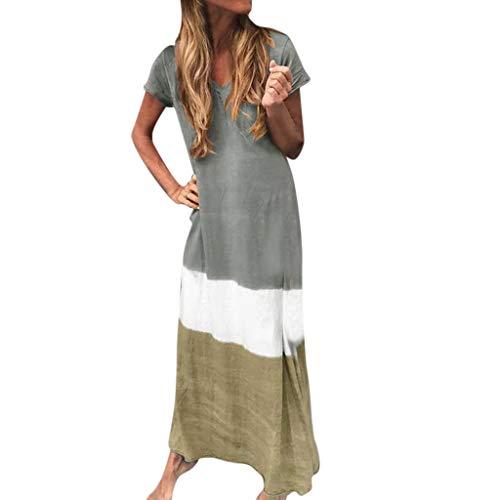 Kostüm Krippe Machen - Fenverk Damen Sommerkleid Ohne Kurzarm Knielang Strandkleid Elegant Partykleid Cocktailkleid Druck A-Linie Kleider Casual TräGerkleid Lose T-Shirt Kleid S-5XL(A Grau,S)