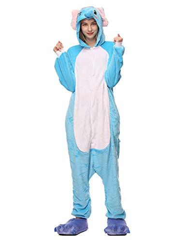 ShiyiUP Tier Schlafanzug Lustig Jumpsuit Cosplay Kostüm Overall Halloween Erwaschene Damen Herren Koala(Ohne Schuhe) (L, Elefant)