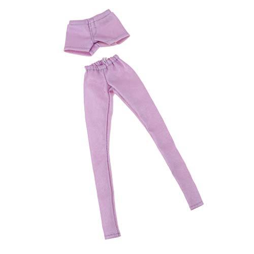 Baoblaze 2 Stücke Modische elastische Shorts & Lange Lederhose Puppenkleidung für 1/6 weibliche Puppen verkleiden Sich Zubehör - (Lederhosen Kostüm Weiblich)