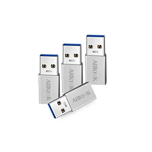 USB C Adapter - ARKTEK USB A 3,0 (Männlich) auf USB Typ C (Weiblich) Konverter für Computer Laptop Galaxy S9 Note 9 Surface Pro 6 ThinkPad Spectre Inspiron Aspire und mehr (4er Pack, Aluminium) (Männlich Weiblich Usb)