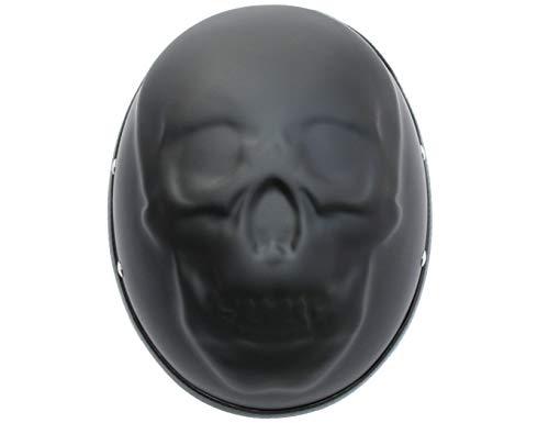 Skull Chopper (ATO Helme Chopperhelm BC Skull Schädel Motorradhelm 3D Matt Schwarz Größe  M 57 Bis 58cm)