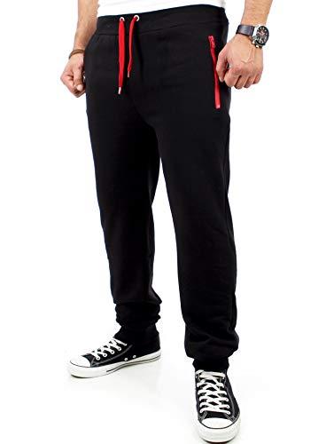 Reslad Herren Jogginghose Zip Männer Sporthose mit Reißverschluss Sweatpant Trainingshose lang RS-5180B Schwarz-Rot L