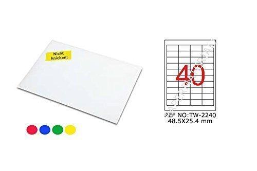TANEX TW-2240 Étiquettes Colorées Bleu 48,5 x 25,4 mm - Angulaire - 25 Feuille A4