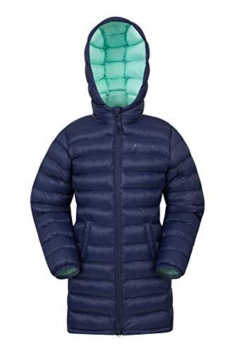 Mountain Warehouse Florence Lange, gefütterte Kinder-Jacke - leichte Winterjacke, isolierter Mantel, weich, warm, mit Kapuze - Winterbekleidung für Reisen und Outdoor Marineblau 128 (7-8 Jahre)