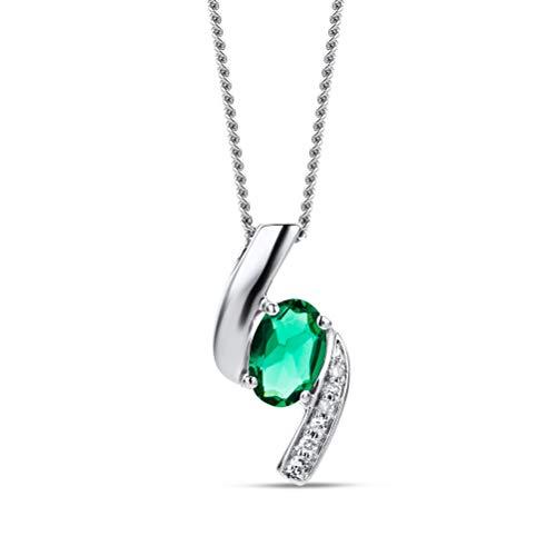 Orovi Collana - Pendente - Ciondolo Donna con Catena in Oro Bianco con Diamanti Taglio Brillante e Smeraldo Ovale Ct 0.35 Oro 9 Kt / 375 Catenina Cm 45