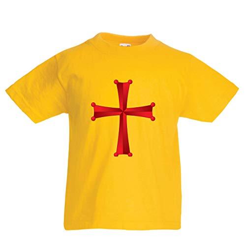 en/Mädchen T-Shirt Tempel des Ordens von Salomo - Das Rote Kreuz der Tempelritter (9-11 Years Gelb Mehrfarben) ()