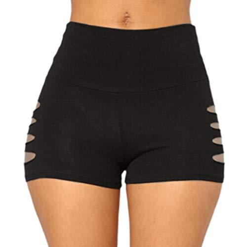 Lifet Damen Tights Shorts, Fitness Yoga Leggings Elastische Sport Shorts High Waist Kurze Hosen Solide Schwarz Rot S~XL
