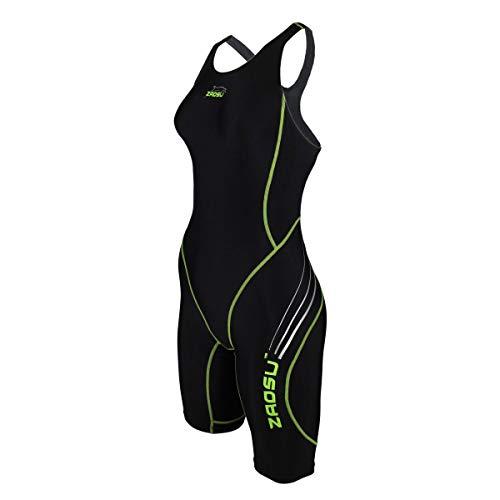 ZAOSU Wettkampf-Schwimmanzug Z-Black - Badeanzug für Mädchen und Damen, Größe:38, Farbe:schwarz/grün