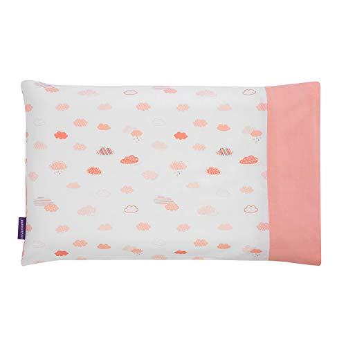 Clevamama ClevaFoam Funda Almohadas para Carritos Bebé, 100% Algodón - Coral