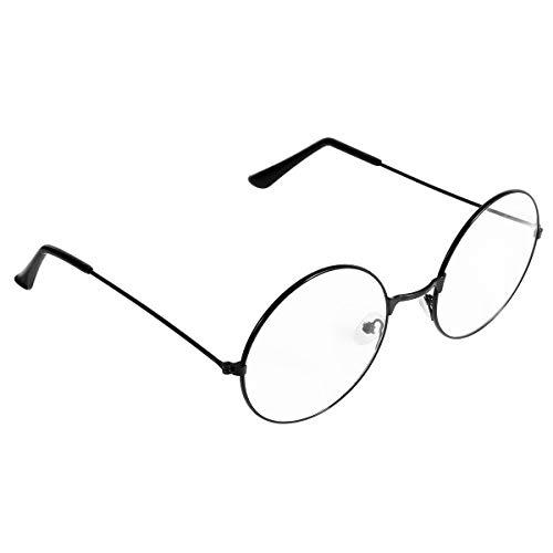 BESTOYARD Gafas Redondas Retro TinkskyUnisex Gafas con Lentes Transparentes Ultra Ligeras para Santa Claus y Harry Potter Cosplay (Negro)