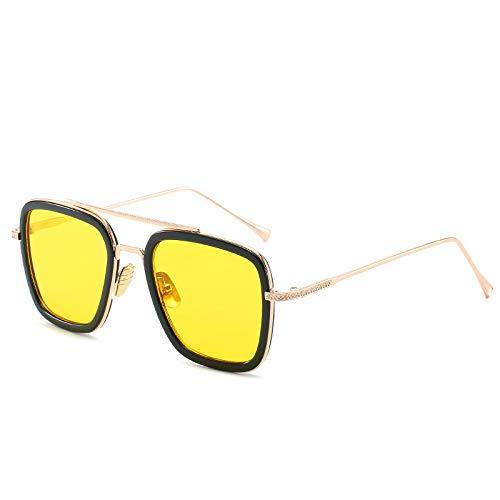Yangjing-hl Gläser Pentagon Sonnenbrille Gezeiten Sonnenbrille schwarzer Rahmen gelbe Tabletten