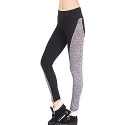 MORCHAN ❤ Femmes Pantalons de Sport Gym athlétisme séance d'entraînement Fitness Yoga Leggings Pantalons Jeans Combinaisons Pantalon Court Collants Knickerbockers(L,Noir)